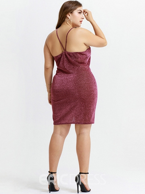 Ericdress Plus Size Sleeveless Above Knee Backless Plain Dress