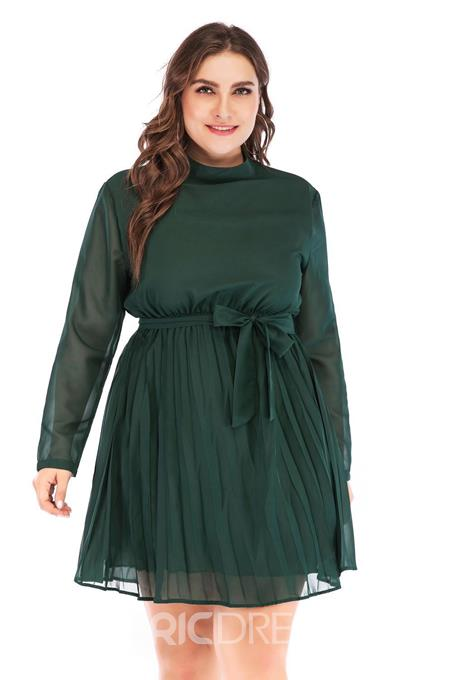 Ericdress Stand Collar Patchwork Long Sleeve Plus Size Regular Dress