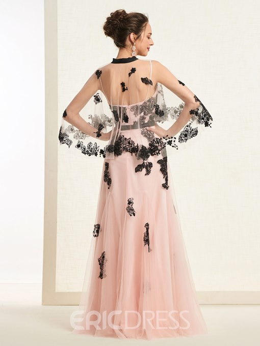 Ericdress A-Line Sequins Appliques Prom Dress with Cape