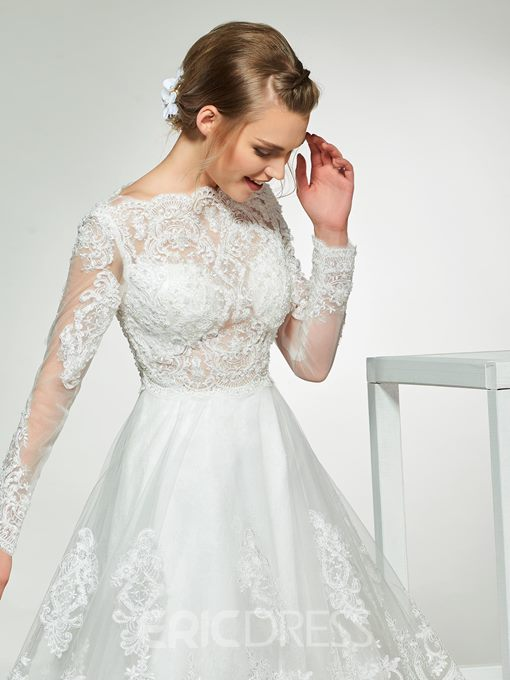 Ericdress Long Sleeves Lace Knee-Length Wedding Dress