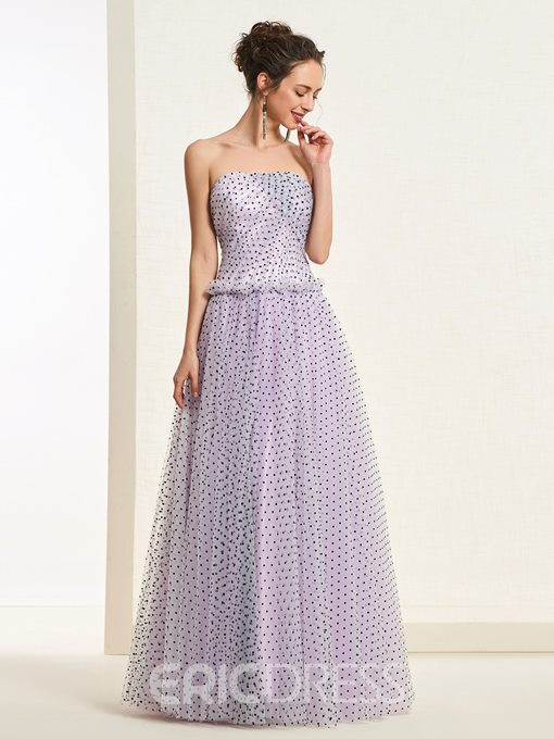 Ericdress Strapless A-Line Dots Tulle Prom Dress