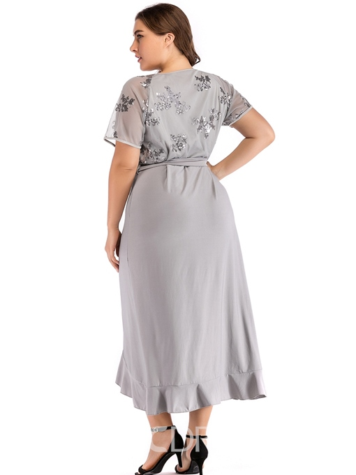 Ericdress Plus Size Patchwork Short Sleeve Mid-Calf High Waist Regular Dress