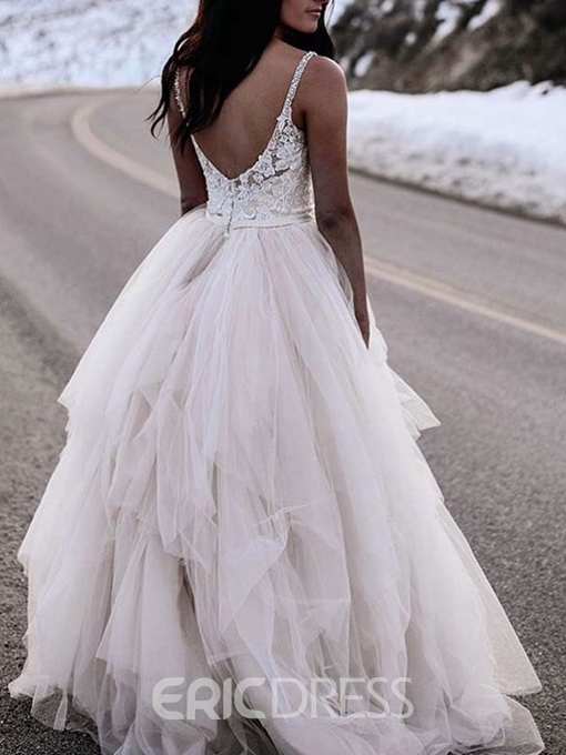 Floor-Length Straps Sleeveless Ball Gown Beach Wedding Dress
