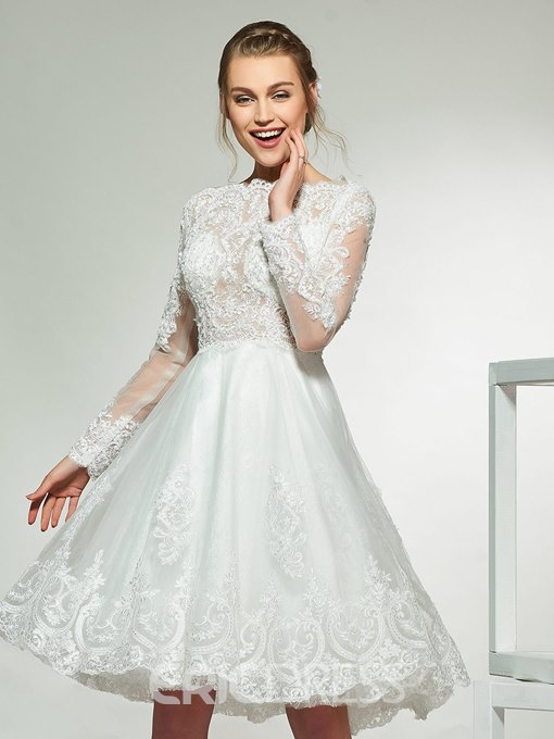 Ericdress Long Sleeves Knee-Length Lace Wedding Dress 2019