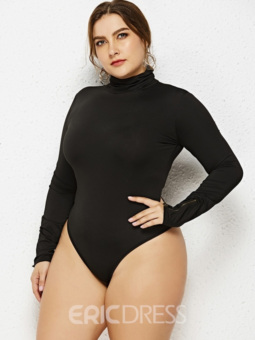 Ericdress Plus Size Plain Casual Zipper Slim Bodysuit