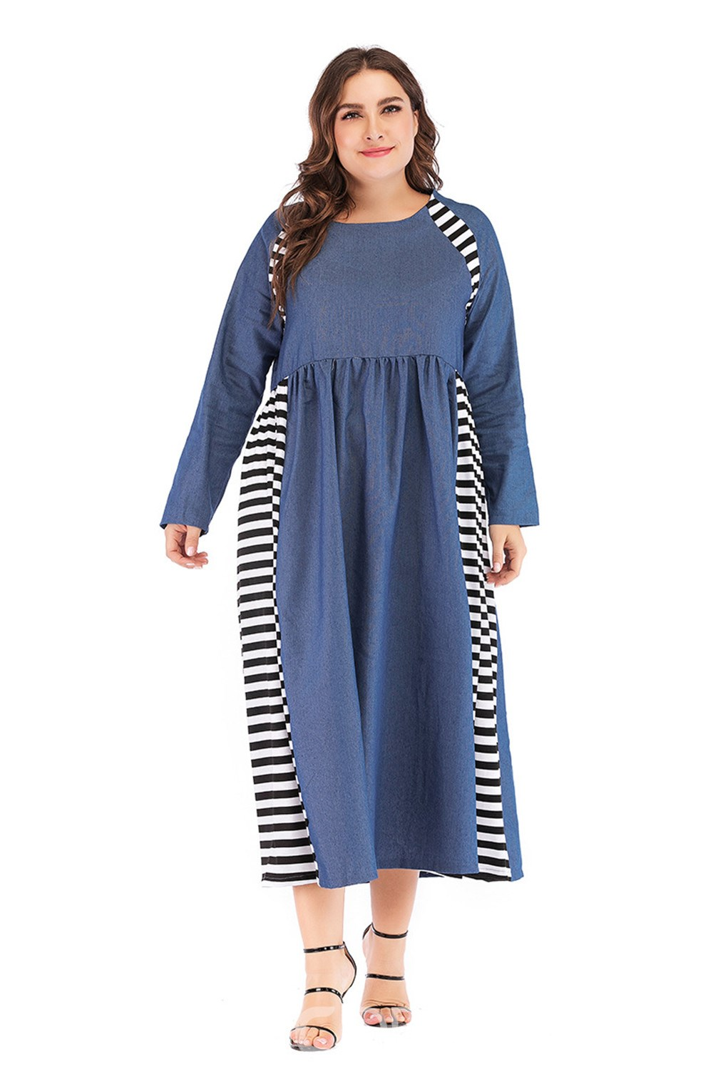 Ericdress Plus Size Round Neck Patchwork Date Night Pullover Dress
