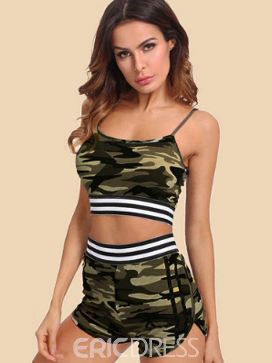Ericdress Breathable Print Camouflage Pullover Shorts Sports Sets