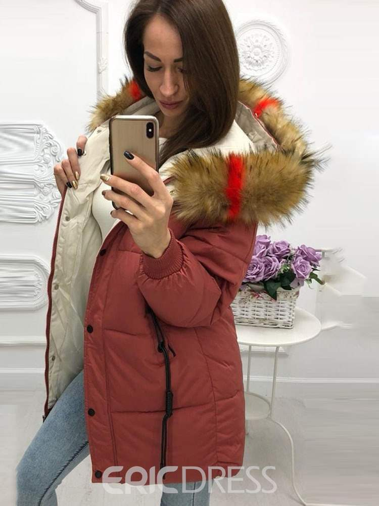 Ericdress Thick Button Loose Mid-Length Cotton Padded Jacket
