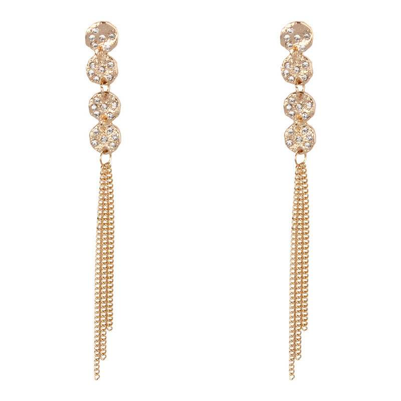 Ericdress Tassel Diamante Long Earrings