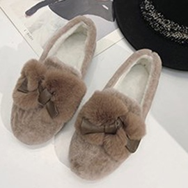 Ericdress Slip-On Round Toe Bow Women's Winter Flats