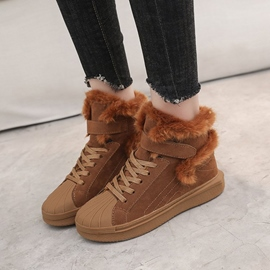 Ericdress Faux Fur Lace-Up Front Round Toe Women's Snow Boots