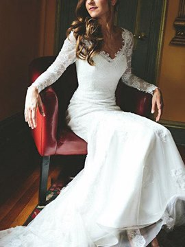 Ericdress V-Neck Long Sleeve Lace Wedding Dress