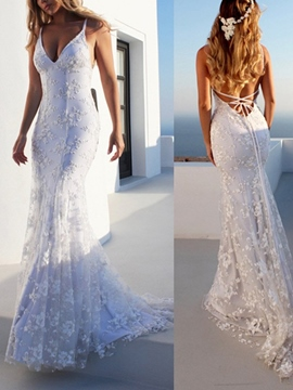 Ericdress Lace Mermaid Beach Wedding Dress 2019