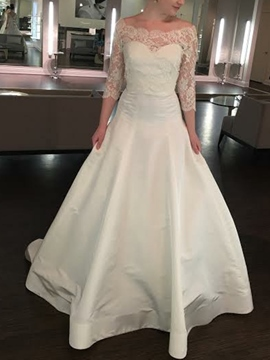 Ericdress 3/4 Length Sleeves Lace A-Line Church Wedding Dress 2019