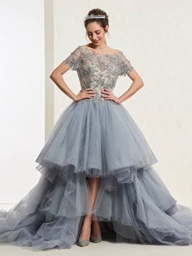Ericdress Short Sleeves Lace Bateau Ball Gown Quinceanera Dress 2019