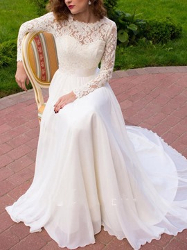 Ericdress Appliques Long Sleeves A-Line Beach Wedding Dress