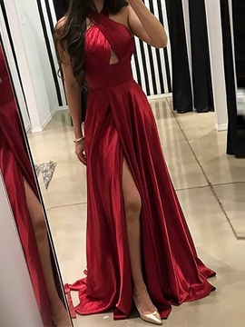 Ericdress Sleeveless Halter Pleats Prom Dress