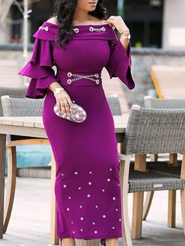 Ericdress Falbala Three-Quarter Sleeve Rivet Slash Neck Dress