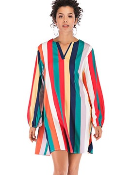 Ericdress Stripe Mid-Length Long Sleeve Blouse