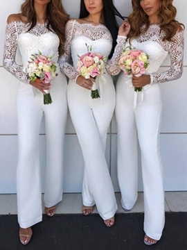 Ericdress Off The Shoulder Long Sleeves Bridesmaid Jumpsuits