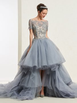 Ericdress Short Sleeves High Low Ball Gown Quinceanera Dress