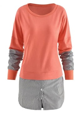 Ericdress Patchwork Stripe Winter Round Neck Hoodie