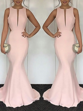 Hollow Floor-Length Scoop Mermaid Evening Dress