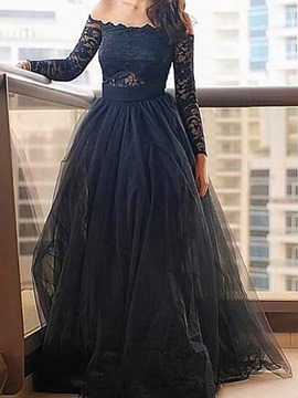 A-Line Lace Off-The-Shoulder Floor-Length Evening Dress
