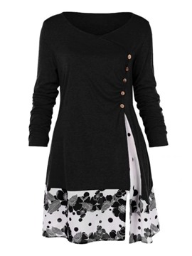 Ericdress Floral Mid-Length Long Sleeve Fall Slim T-Shirt