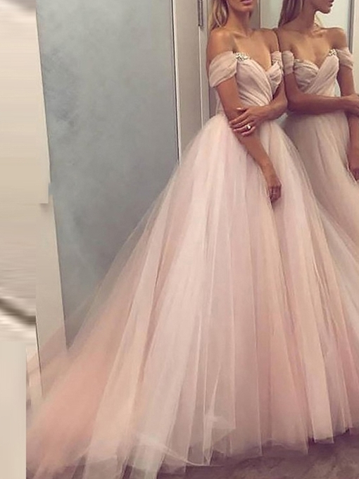 A-Line Floor-Length Off-The-Shoulder Prom Dress