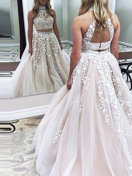 Appliques Sleeveless A-Line Two Pieces Evening Dress
