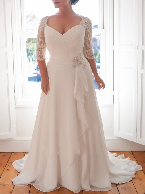 Ericdress Half Sleeves Lace Plus Size Wedding Dress 2019