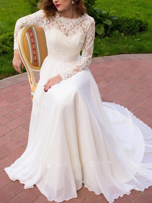 Ericdress Lace Long Sleeve Beach Wedding Dress