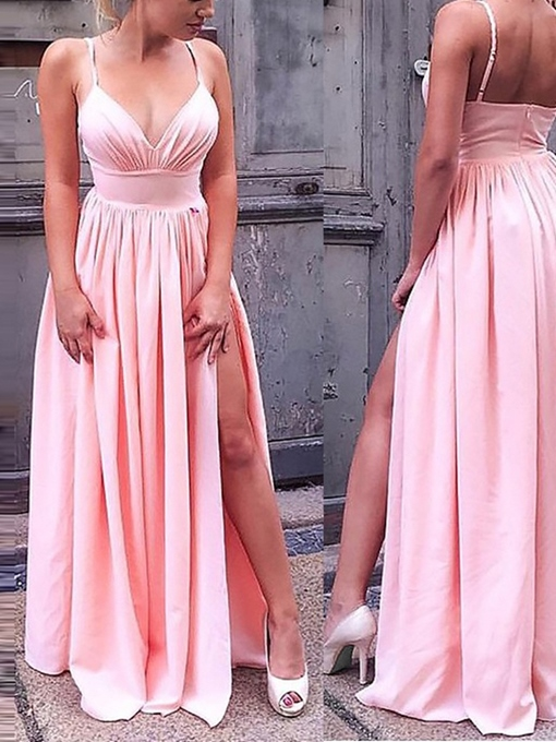Pleats Sleeveless Floor-Length A-Line Prom Dress