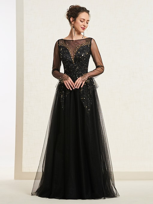 Ericdress A-Line Long Sleeve Starring Black Prom Dress 2019