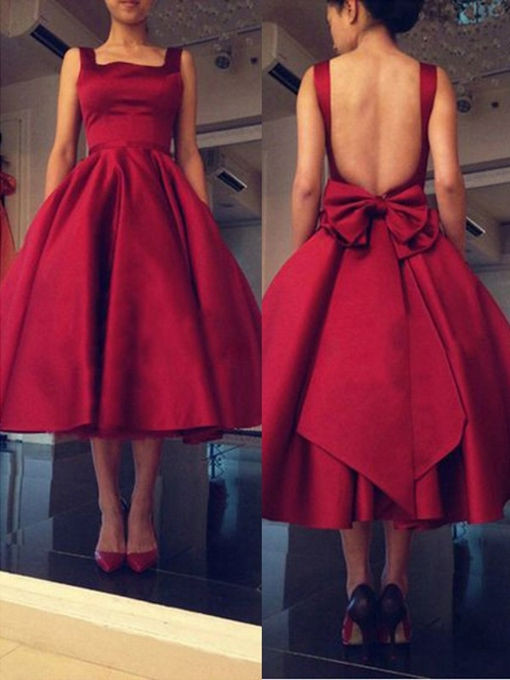 Square Bowknot Sleeveless A-Line Evening Dress