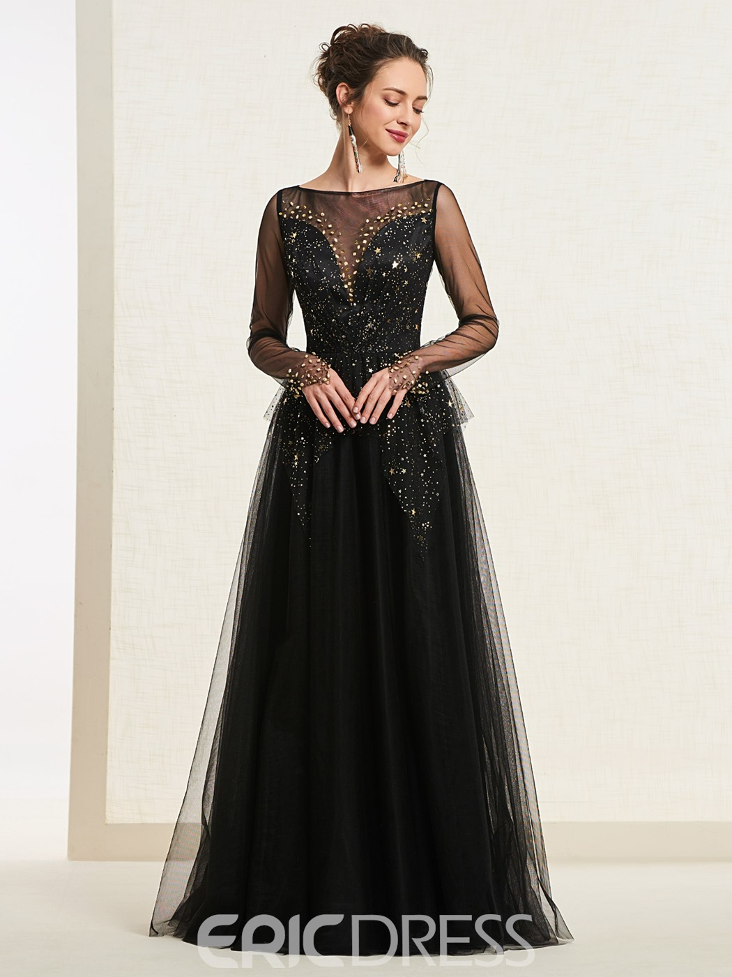 de900b08bf Ericdress A-Line Long Sleeve Starring Black Prom Dress 2019 13700102 ...
