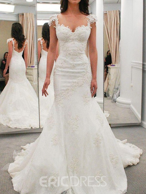 Ericdress Cap Sleeves Appliques Mermaid Wedding Dress