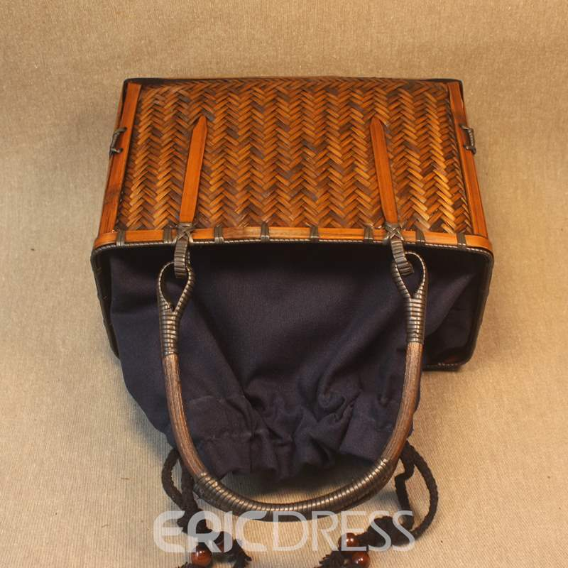 Ericdress Plain Knitted Square Tote Bamboo Bags