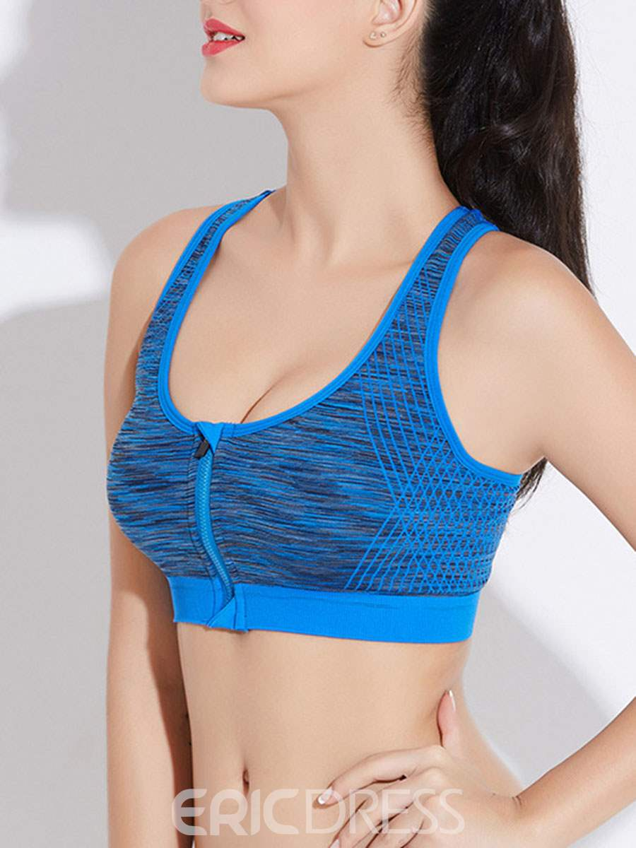 Ericdress Zipper Non-Adjusted Straps Shockproof Thin Sports Bras