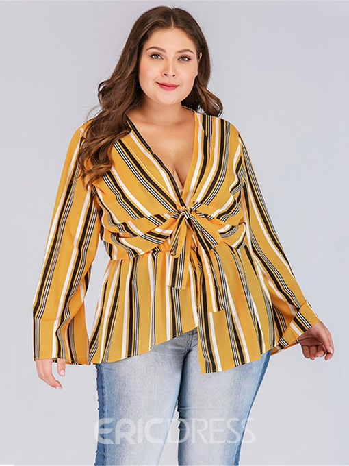 Ericdress Stripe Flare Sleeve Asymmetric Plus Size Blouse