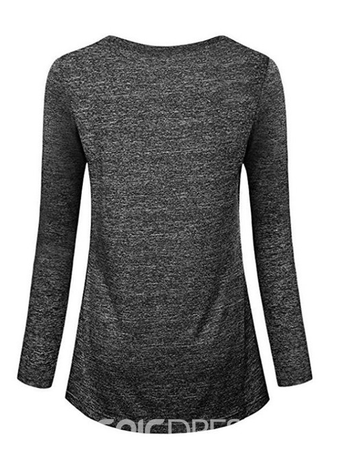 Ericdress Round Neck Long Sleeve Standard Slim Simple T-Shirt