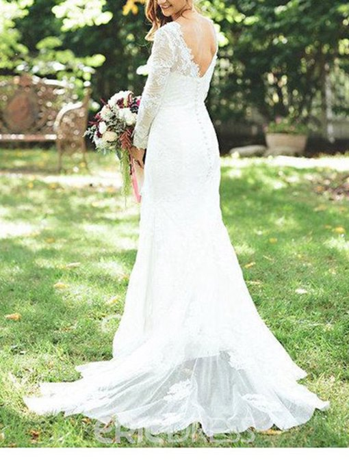 Ericdress Long Sleeves V-Neck Lace Wedding Dress 2019