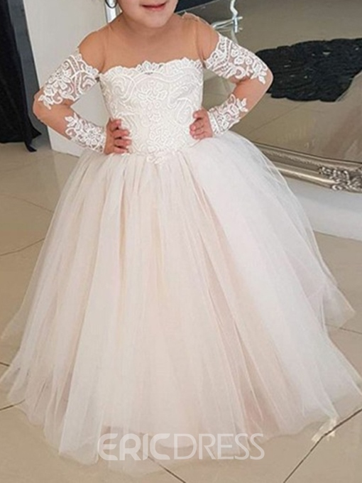 Ericdress Long Sleeves Appliques Flower Girl Dress