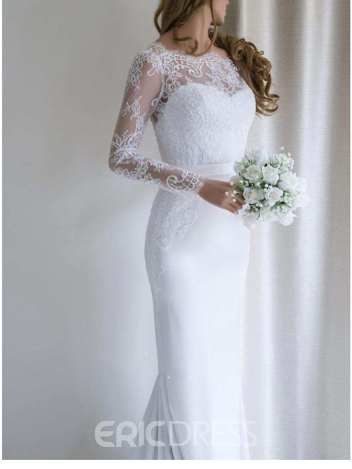 Ericdress Long Sleeves Lace Mermaid Wedding Dress 2019