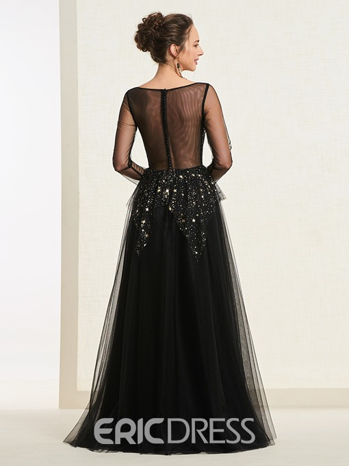 Ericdress A-Line Long Sleeve Starring Black Prom Dress