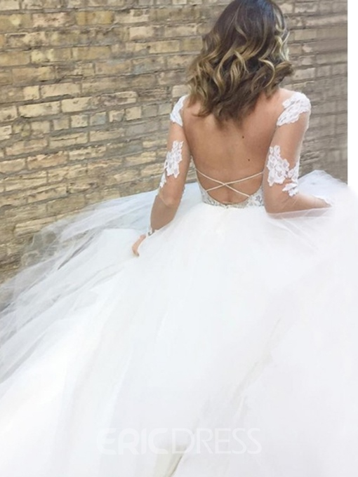 Ericdress Long Sleeves Appliques Backless Beach Wedding Dress