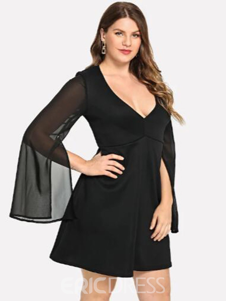 Ericdress Plus Size Above Knee See-Through Mesh A-Line Dress