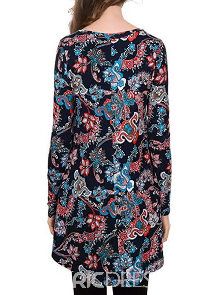 Ericdress Round Neck Long Sleeve Floral Fall Loose T-Shirt