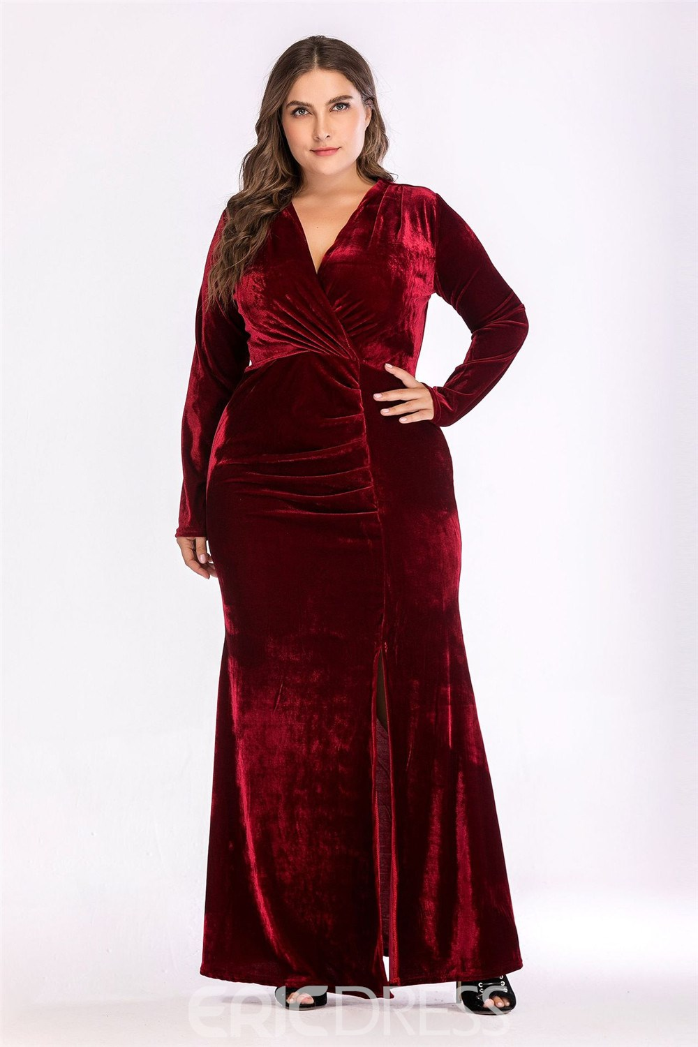 Ericdress Plus Size Split Floor-Length Long Sleeve V-Neck Cocktail Dress
